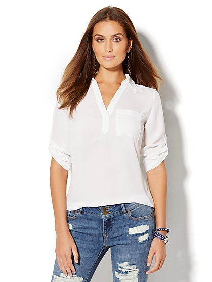 Soho Soft Shirt - One-Pocket Popover  - New York & Company