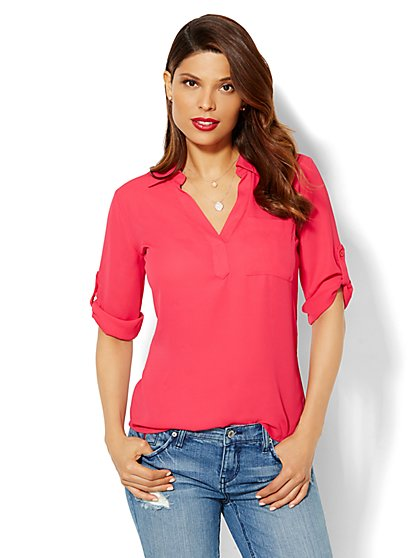 Soho Soft Shirt - One-Pocket Popover - New York & Company