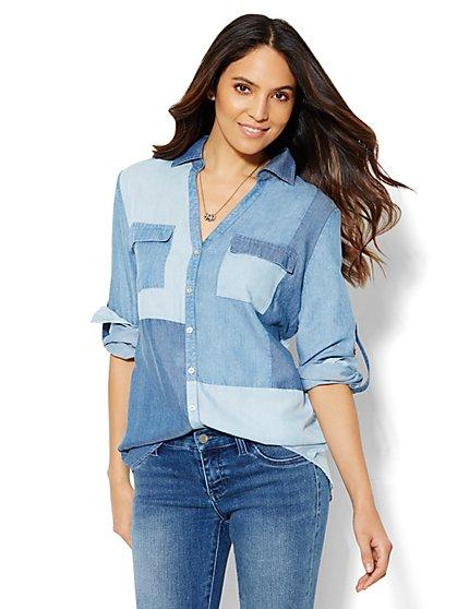 Soho Soft Shirt - Patchwork - Petite  - New York & Company