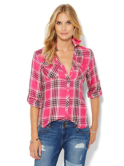 Soho Soft Shirt - Pink Plaid - New York & Company