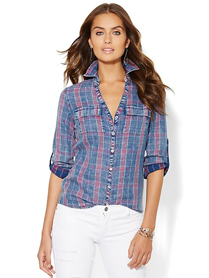 Soho Soft Shirt - Plaid - Cloud Burst Blue Wash - New York & Company