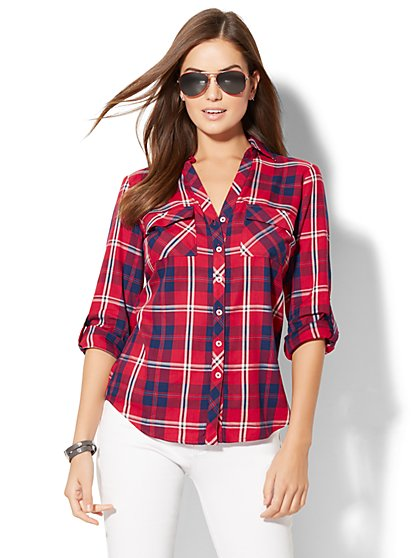 Soho Soft Shirt - Plaid Print - Red - New York & Company