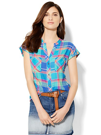 Soho Soft Shirt - Plaid  - Sporty Blue - New York & Company