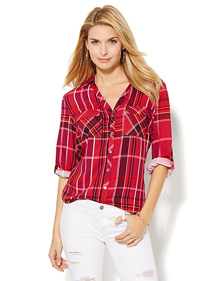 Soho Soft Shirt - Plaid  - New York & Company