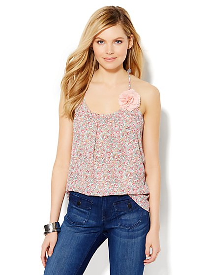 Soho Soft Shirt - Pleat-Neck Camisole - Floral  - New York & Company
