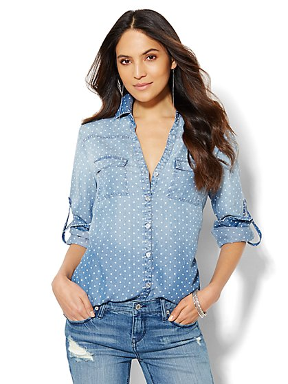 Soho Soft Shirt - Polka-Dot Faux Chambray - Light Blue - Petite  - New York & Company
