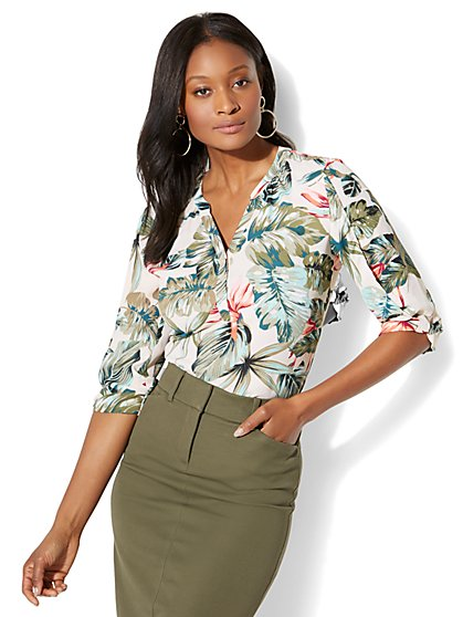 Soho Soft Shirt - Popover - Palm Print - New York & Company