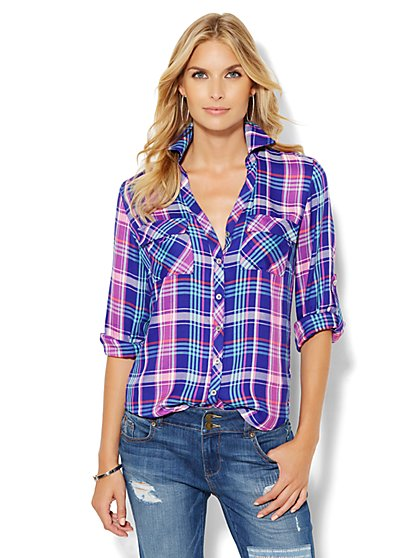 Soho Soft Shirt - Purple Plaid - New York & Company