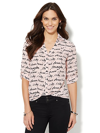 Soho Soft Shirt - Script Print  - New York & Company