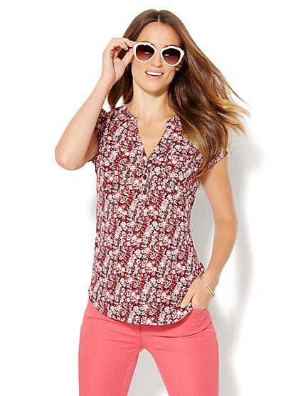 Soho Soft Shirt - Short Sleeve - Floral  - New York & Company
