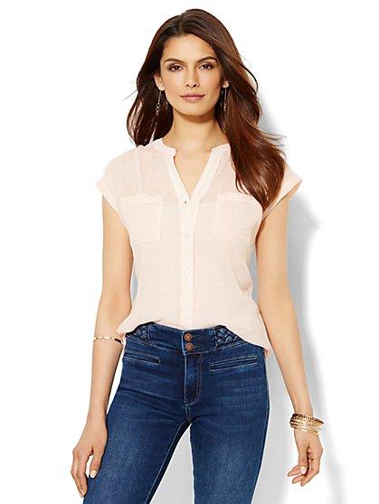 Soho Soft Shirt - Short-Sleeve - Pinstripe - New York & Company