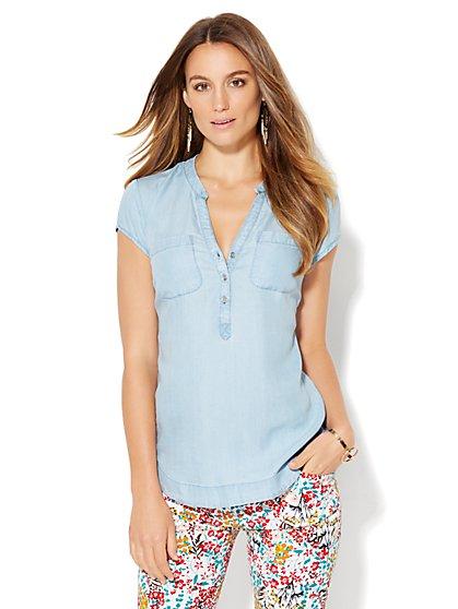 Soho Soft Shirt - Short-Sleeve - Ultra-Soft Chambray  - New York & Company