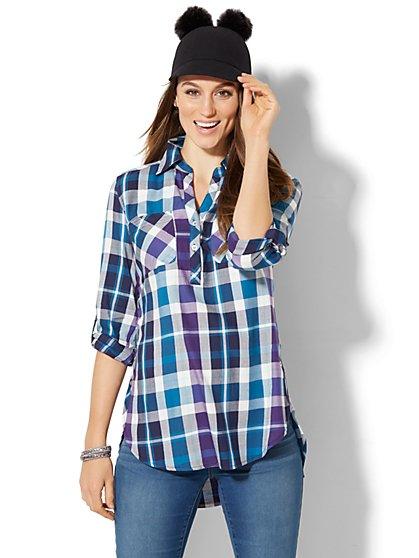 Soho Soft Shirt - Side-Button Hi-Lo Tunic - Metallic Plaid - New York & Company