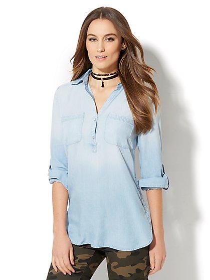Soho Soft Shirt - Side-Button Hi-Lo Tunic - Ultra-Soft Chambray - Light Blue - New York & Company
