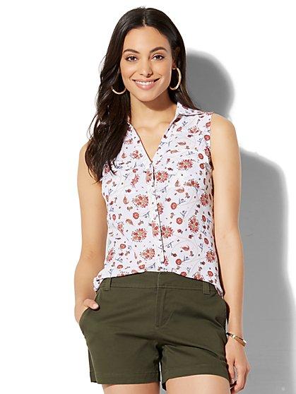 Soho Soft Shirt - Sleeveless - Floral & Paisley Print - New York & Company