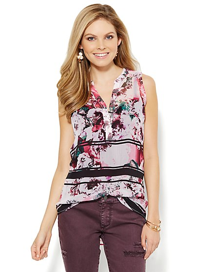 Soho Soft Shirt - Sleeveless - Floral/Stripe  - New York & Company