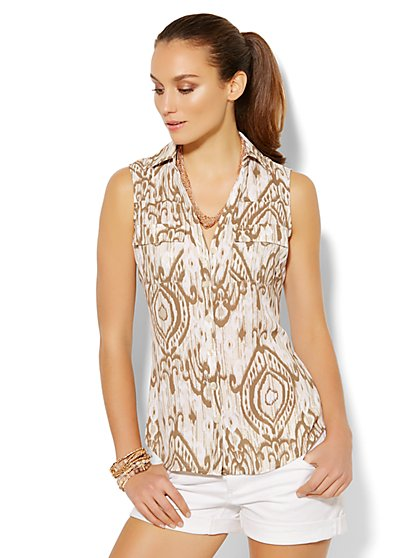 Soho Soft Shirt - Sleeveless - Ikat Print - New York & Company