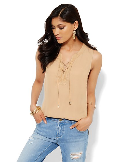 Soho Soft Shirt - Sleeveless - Lace-Up - Classic Camel  - New York & Company