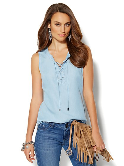 Soho Soft Shirt - Sleeveless Lace-Up - Light Indigo  - New York & Company