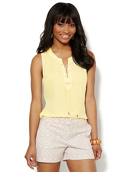 Soho Soft Shirt - Sleeveless - Lace-Up - New York & Company