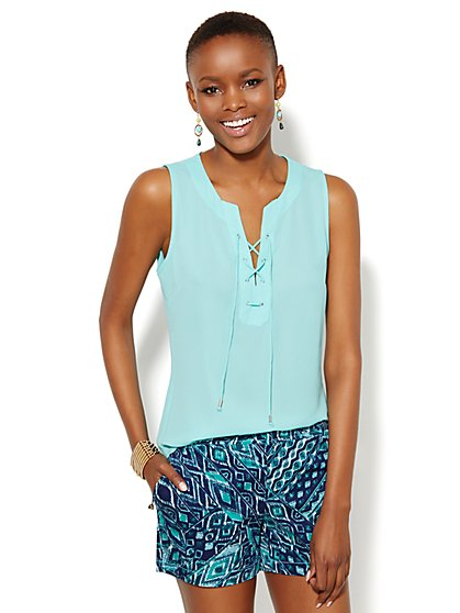 Soho Soft Shirt - Sleeveless - Lace-Up - New York & Company