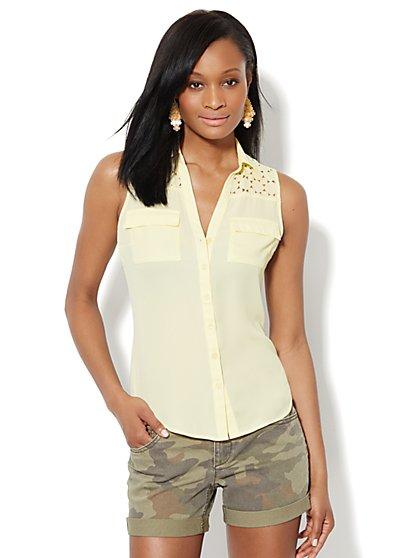 Soho Soft Shirt - Sleeveless - Laser Cut - New York & Company