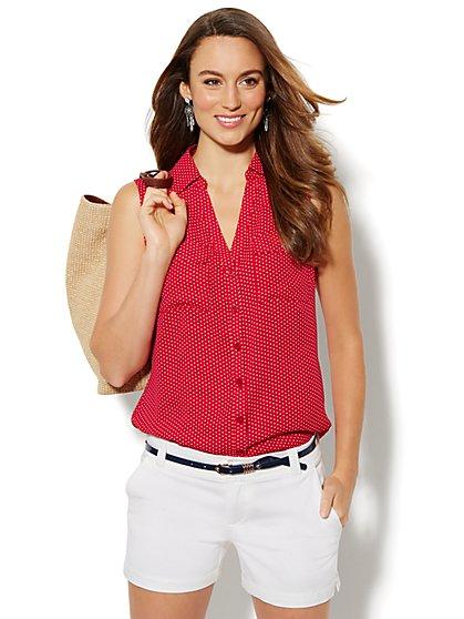 Soho Soft Shirt - Sleeveless - Polka- Dot  - New York & Company