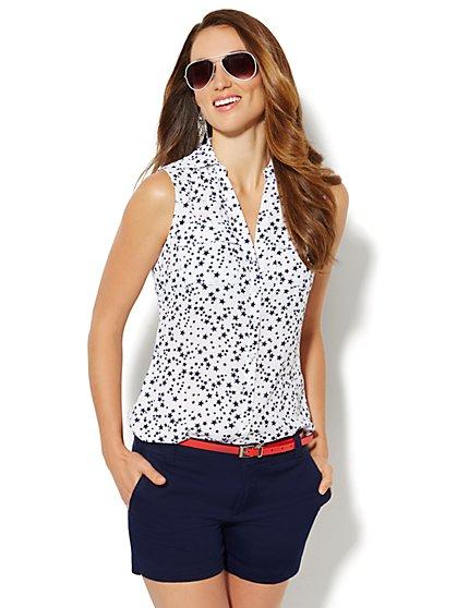 Soho Soft Shirt - Sleeveless - Star Print - New York & Company