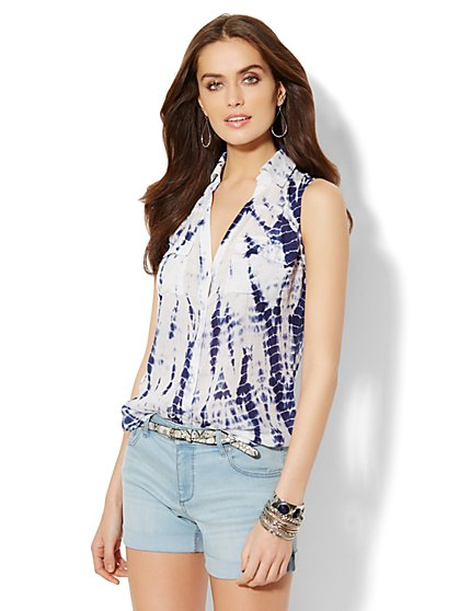 Soho Soft Shirt - Sleeveless - Tie-Dye Print  - New York & Company
