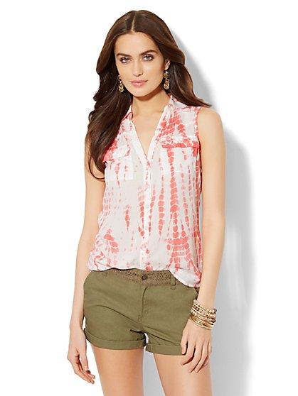 Soho Soft Shirt - Sleeveless - Tie-Dye Print  - New York & Company