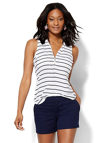 Soho Soft Shirt - Sleeveless - Zip Front - Stripe   - New York & Company