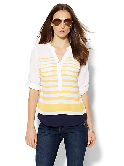 Soho Soft Shirt - Split-Neck Blouse - Colorblock Stripe  - New York & Company