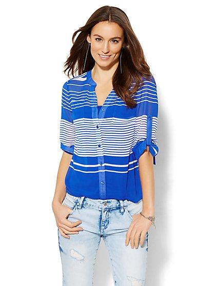Soho Soft Shirt - Split-Neck Blouse - Stripe  - New York & Company