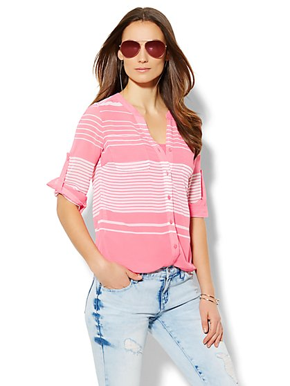 Soho Soft Shirt - Split-Neck Blouse - Stripe  - New York & Company