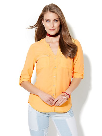 Soho Soft Shirt -  Split-Neck - Cornsilk Yellow     - New York & Company