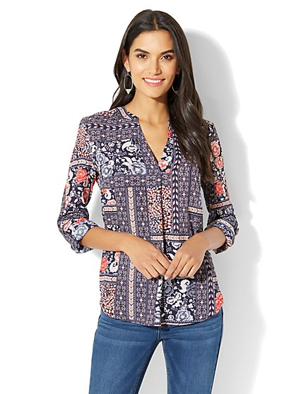 Soho Soft Shirt - Split-Neck - Floral & Graphic Print - New York & Company