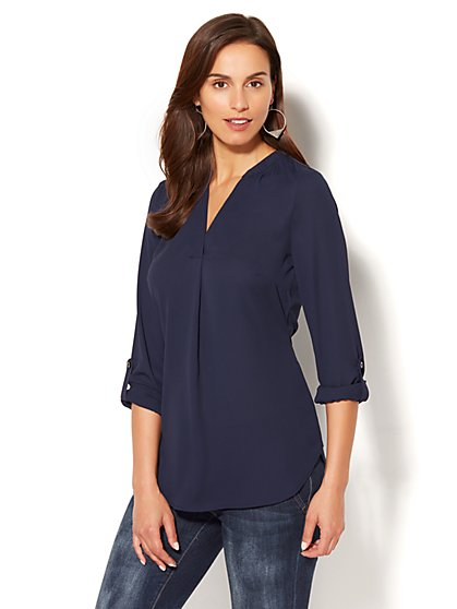 Soho Soft Shirt - Split-Neck Popover Blouse - New York & Company