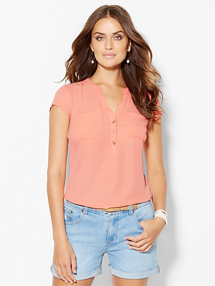 Soho Soft Shirt - Split Neck - New York & Company