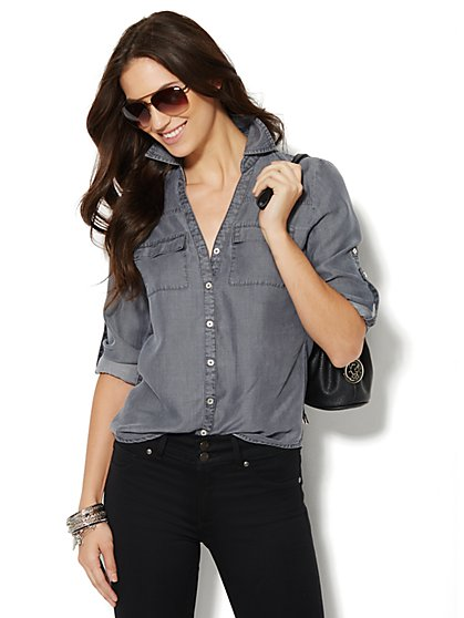 Soho Soft Shirt - Super-Soft Chambray - Grey Sea Wash  - New York & Company