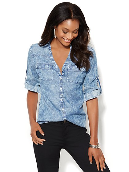 Soho Soft Shirt - Super-Soft Chambray - Shockwave Blue Wash  - New York & Company
