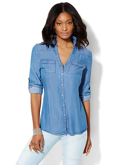 Soho Soft Shirt - Super-Soft Chambray Tunic - Dark Blue  - New York & Company