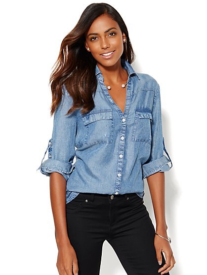 Soho Soft Shirt - Super-Soft Chambray  - New York & Company