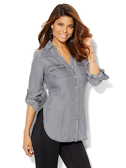 Soho Soft Shirt - Tunic - Charcoal  - New York & Company