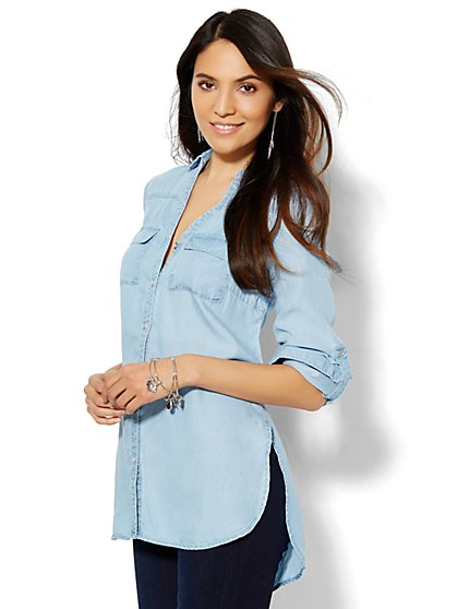 Soho Soft Shirt - Tunic - Light Indigo  - New York & Company