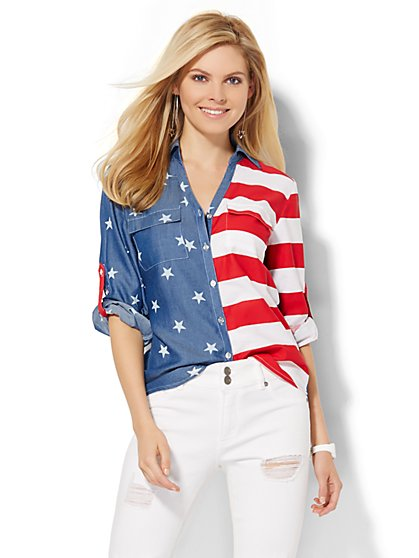 Soho Soft Shirt - Ultra-Soft Chambray - American Flag Print  - New York & Company