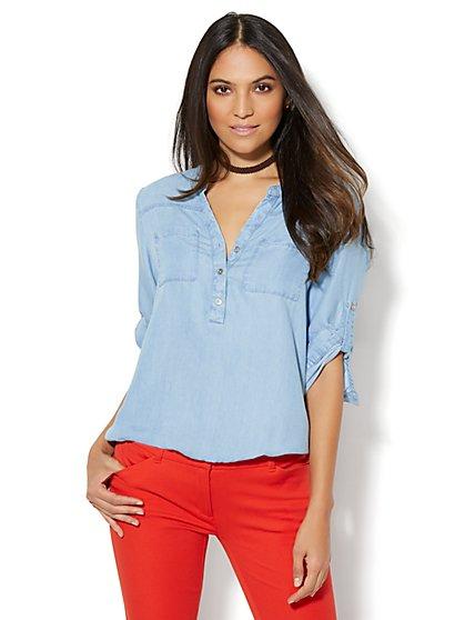 Soho Soft Shirt - Ultra-Soft Chambray - Bubble-Hem Blouse - New York & Company