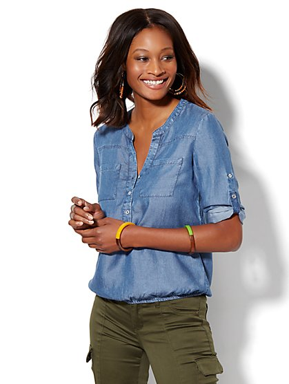 Soho Soft Shirt - Ultra-Soft Chambray - Bubble-Hem Blouse - New York & Company