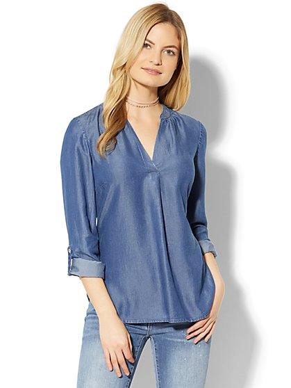Soho Soft Shirt - Ultra-Soft Chambray - Dark Blue Wash - New York & Company