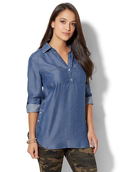Soho Soft Shirt - Ultra-Soft Chambray Tunic - New York & Company