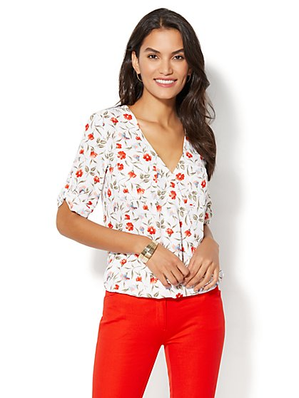 Soho Soft Shirt - Wrap-Front Blouse - Floral Print - New York & Company